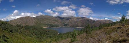 Panoramics of Serra Amarela (Yellow Sierra) and lake of Vilarinho das Furnas dam. National Park of Peneda-Gerês, Portugal