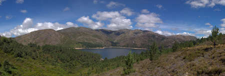 panoramics: Panoramics of Serra Amarela (Yellow Sierra) and lake of Vilarinho das Furnas dam. National Park of Peneda-Ger�s, Portugal