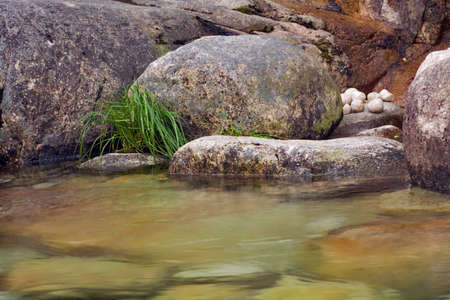 A natural, quiet and zen like composition of rocks and flowing water.