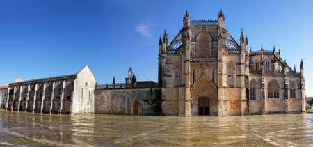 Main entrance panoramic of Batalha Monastery, Portugal