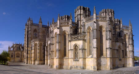Lateral panoramic view of Batalha Monastery showing the unfisnished chapels, Portugal