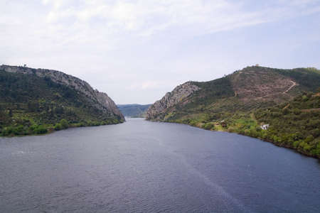 Tagus river goes through a narrow passage at Portas do Ródão. Wide View. Portugal Stock Photo
