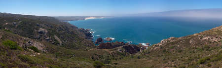 Guincho beach and seascape panorama as seen from close to Cabo da Roca. Sintra, Portugal