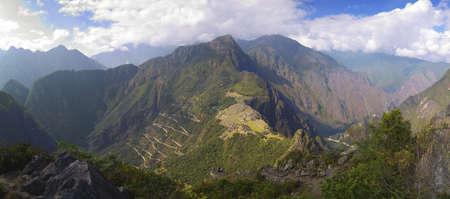 urubamba valley: Panorama of Machu Picchu, surrounding mountains and Urubamba valley seen from Wayna Picchu peak.