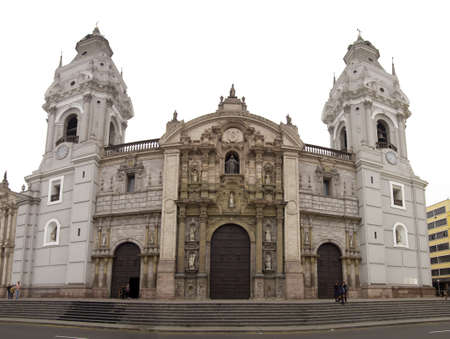 Lima Cathredral under an overcast white sky. Peru.