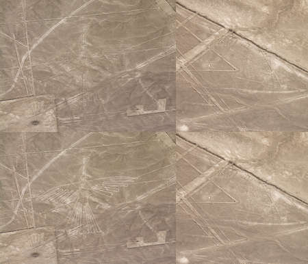 enhanced: Condor and Spider (Araña) lines in Nazca desert. Peru. Regular and contrast enhanced versions.