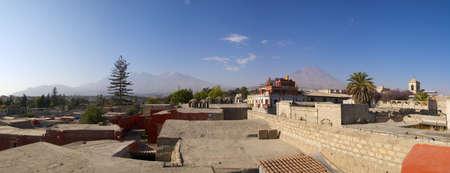 Panorama view of Arequipa from Santa Catalina Monastery. Chachani and Misti volcanoes on the horizon. Peru. Stock Photo
