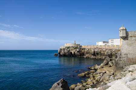 Walls of Peniche fort facing the blue ocean. Portugal. Stock Photo - 10931365