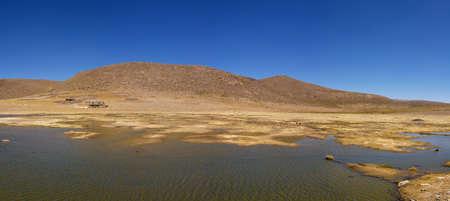 aguada: Peruvian highland lake in Reserva Natural de Salinas e Aguada Blanca. Arequipa, Peru.
