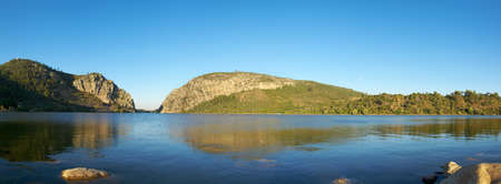 Panoramic view of Portas de Rodao Natural Monument as seen the lake island downstream. Vila Velha de Rodao, Portugal. Stock Photo
