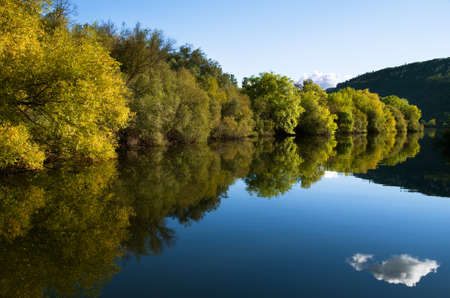 Green riverbank tree line and blue sky reflecting on river calm water.  Stock Photo
