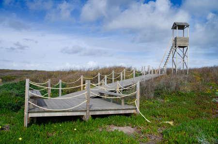passageway: Nature watch tower and passageway made of wood, near coastline  Alentejo, Zambujeira do Mar, Portugal