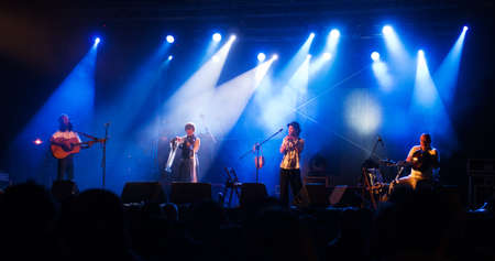 Sendim, Portugal - August 03, 2013  Japanese band Harmonica Creams performing at Festival Intercéltico de Sendim in Sendim - Miranda do Douro  Editorial