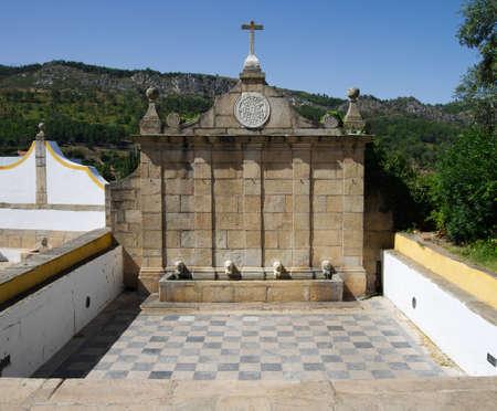 Ancient, dated 1699, Mealhada Fountain in Castelo de Vide  Alentejo, Portugal  Editorial
