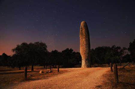 Menhir da Meada  Night, long exposure shot, at the moonlight of the largest menhir of the Iberian peninsula with over 7 meters height  Castelo de Vide, Portugal