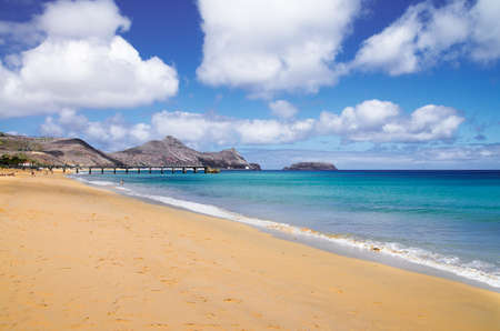 Porto Santo golden sand beach and blue and green sea near Vila Baleira  Madeira, Portugal