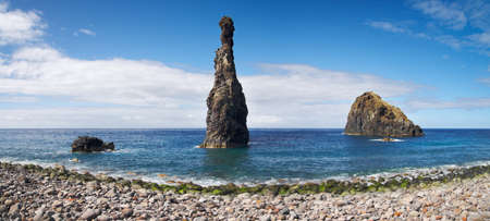 phallic: Phallic perspective of ocean rocks at the mouth of Ribeira da Janela in Madeira northern coast  Portugal