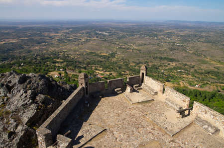 Viewpoint over hills and plains from Marvao castle towers at the top of the mountain. Portalegre, Portugal.