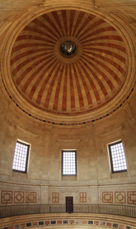 made in portugal: National Pantheon dome interior, made of marble stone of several colours, and upper balcony. Alfama, Lisbon, Portugal.
