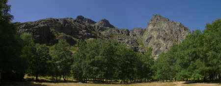 Surrounded by rocky mountains, a clearing of dry grass amongst green trees at Covao dAmetade. Serra da Estrela, Portugal.