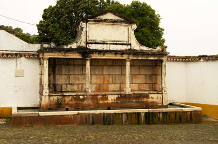 Large Fountain made of stone, called Fonte Grande, first built in 1588 at Vila Vicosa. Alentejo, Portugal.