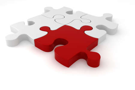 missing link: 3D red and white puzzle pieces Stock Photo