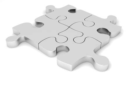 3D metal puzzle pieces photo