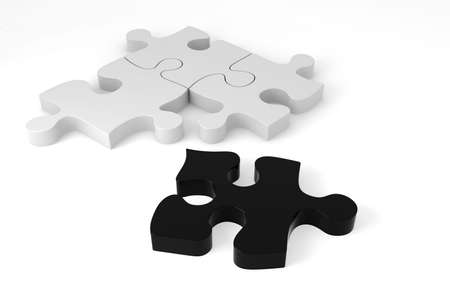 3D black and white puzzle pieces photo
