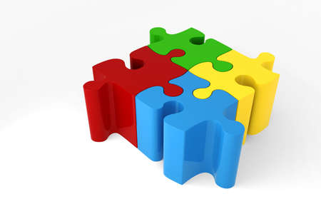 red puzzle piece: 3D coloured puzzle pieces Stock Photo