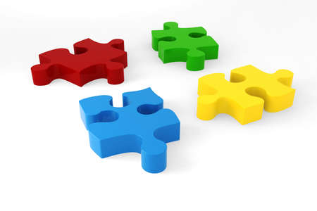 3D coloured puzzle pieces photo