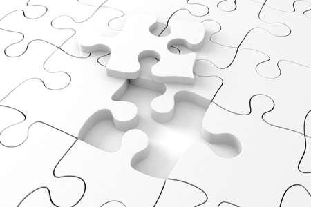 3D white puzzle photo
