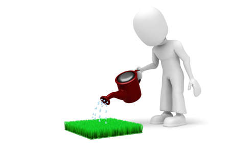 3d man watering the lawn Stock Photo - 7911137