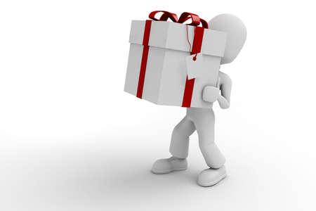 attitude: 3d man holding a big present box