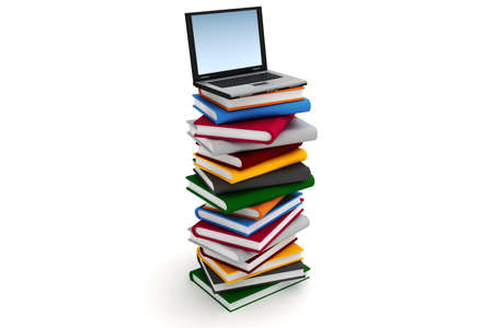 3d laptop on a pile of books photo