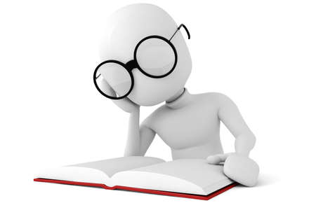 3d man reading a book Stock Photo - 8224273
