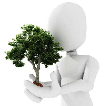 offshoot: 3d man holding a tree Stock Photo