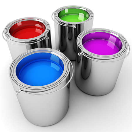 flat brushes: 3d paint buckets Stock Photo