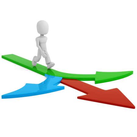 follow the leader: 3D man lopen op pijlen