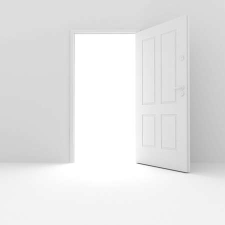 out door: 3d room with white walls and door Stock Photo