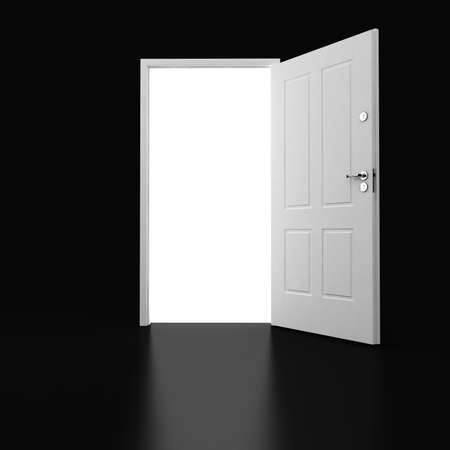 doors open: 3d white door m on black Stock Photo