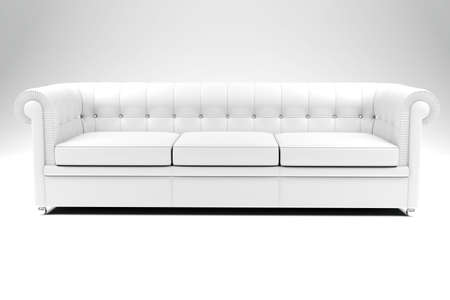 3d white leather couch, studio shot photo