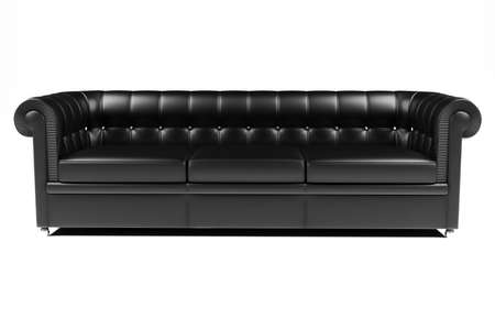 couch: 3d black leather couch