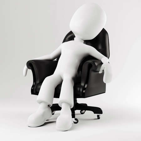 3d man sitting in an arm chair photo