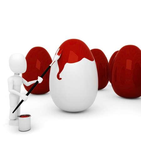 3d man painting an egg photo