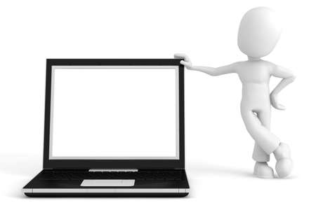 3d man and laptop Stock Photo - 7911216