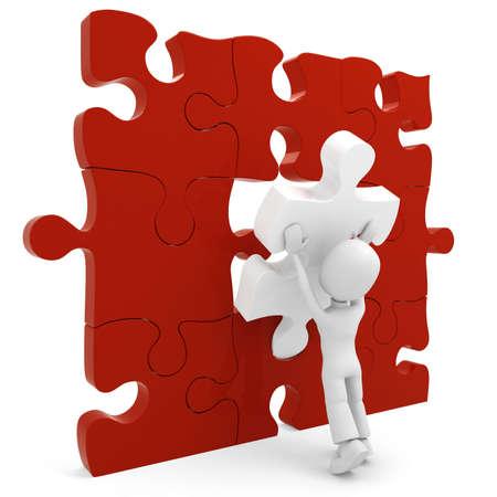 hombre empujando: 3D hombre empujando un piezas de un rompecabezas en su lugar