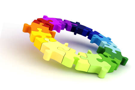 conexiones: rueda de gr�fico de colorido rompecabezas 3D