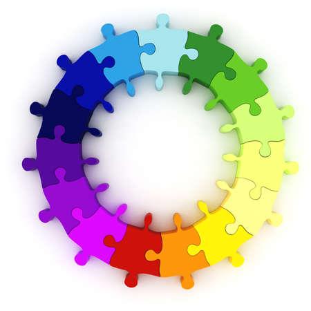 circulos concentricos: rueda de gr�fico de colorido rompecabezas 3D