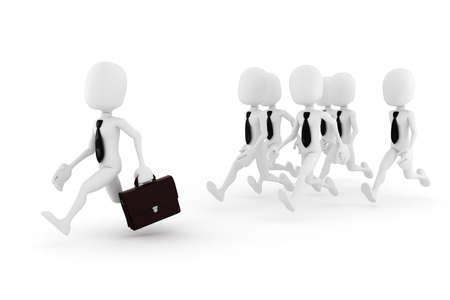 3d man, business man chased by some other 3d men Stock Photo - 8165293