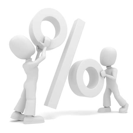 3d man playing with the Percentage symbol photo